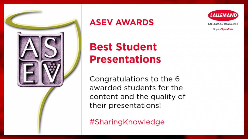 ASEV BEST STUDENT PRESENTATION AWARDS